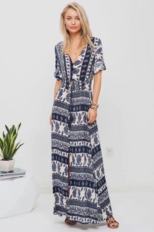 Lost in Paradise Aztec Long Dress