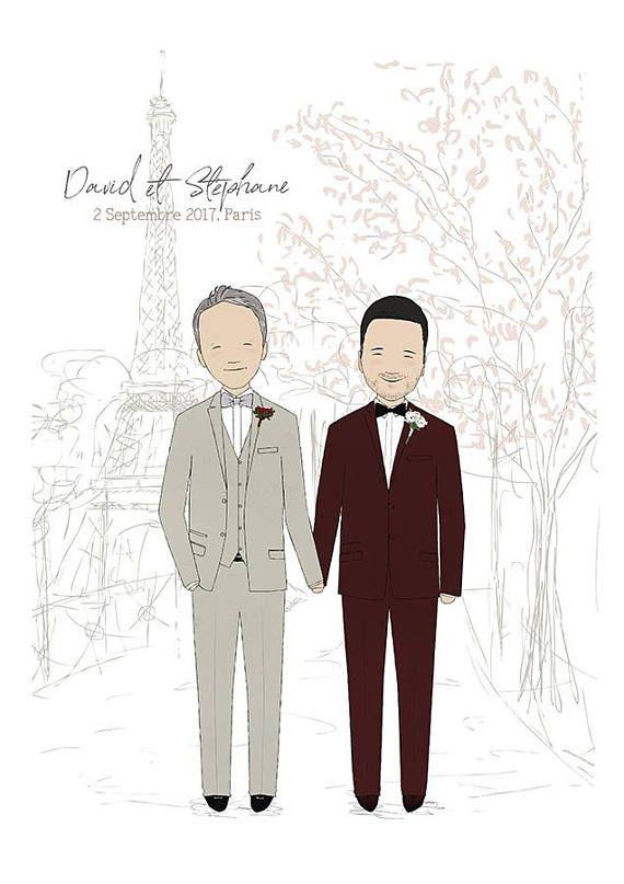 Custom Wedding Illustration-Custom Couple Portrait Gay