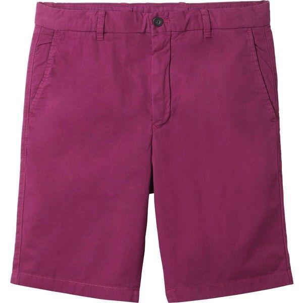 UNIQLO Men Chino Shorts (40 DKK) ❤ liked on Polyvore featuring men's fashion, men's clothing, men's shorts, purple, men's apparel, mens chino shorts, mens shorts, mens purple shorts and mens clothing