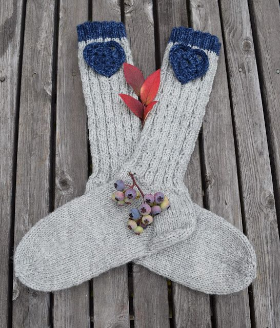 Blue Heart - sockan Gratis mönster