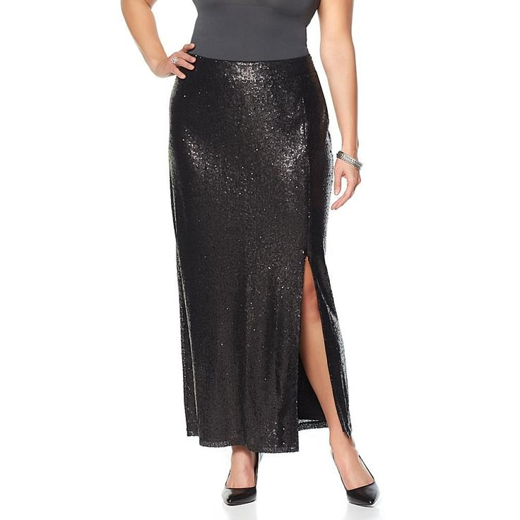 Wendy Williams Sequin Maxi Skirt - Black