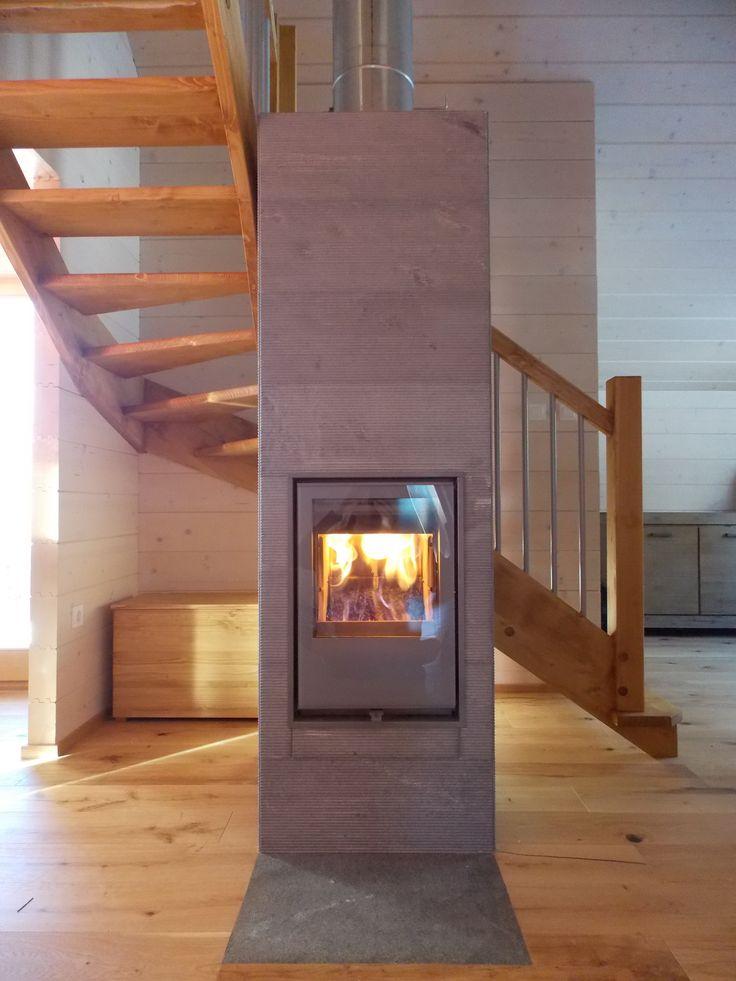 Tulikivi Hiisi fireplace with extra layers of heat-retaining soapstone on top. #slovenia