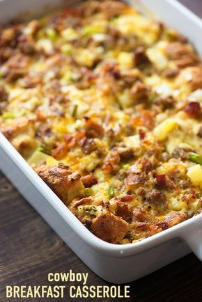This breakfast casserole recipe is packed with sausage, bacon, cheese, and eggs! It's so simple to throw together before bed and bake in the morning.