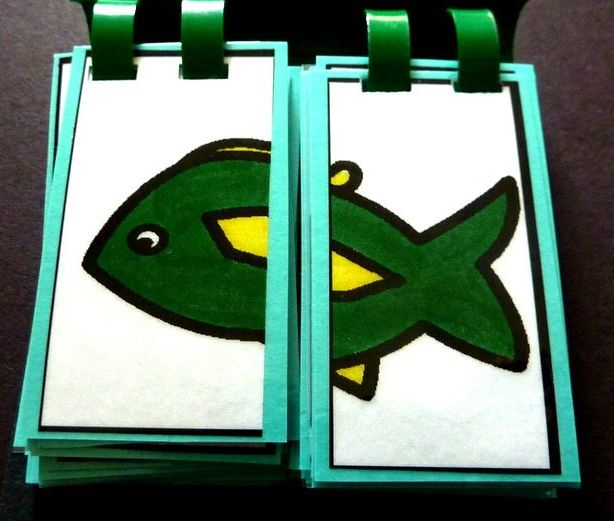 """Final Consonant Deletion Flip Book."" Use your tail sound and say 'fish.' If your child forgets to use their 'tail sound' you can flip the tail sound over so you only have half of an animal, then flip the tail sound back when your child uses their final consonant."