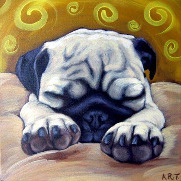 pug art | Sleepy Pug | Giggle Pug