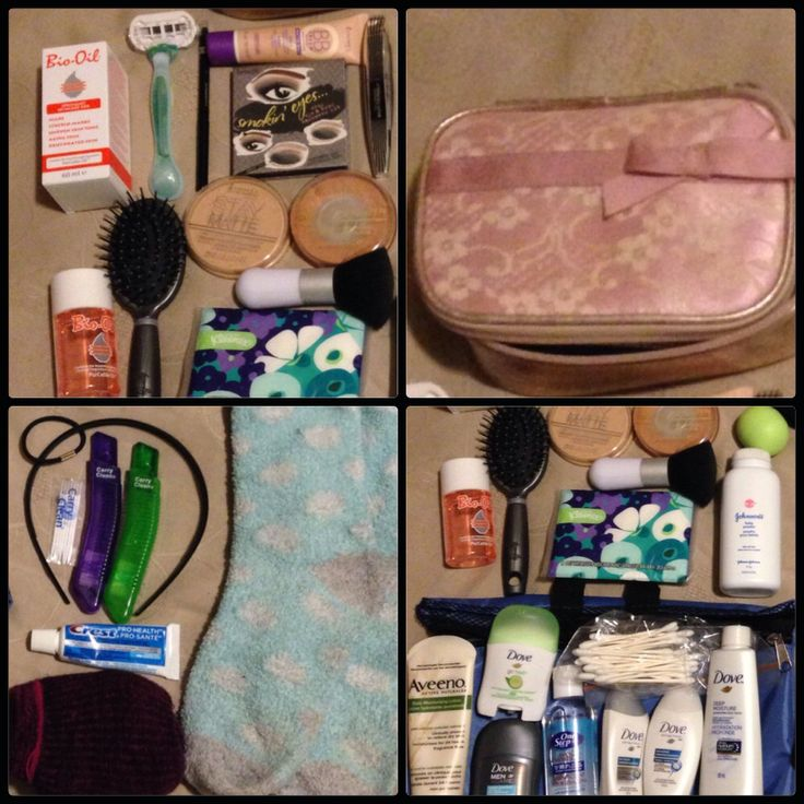 My toiletries breakdown: makeup bag, razor, Bio Oil, Benefit Smokin' Eyes Kit, Rimmel BB Cream, Goody Hairbrush, Rimmel Eyeliner,  Rimmel Matte Powder, Rimmel Bronzer, L'Oreal Butterfly Mascara, Kleenex Tissue, Aveeno Lotion, Dove Deodorant for me and hubby, One Step Hand Sanitizer, Dove Body Wash, Dove Shampoo and Conditioner, Cotton Buds, Baby Powder (for me), eos lip balm, mouthwash toothpaste, toothbrush for me and hubby, toothpicks, headband, ponytail and cozy socks for me and hubby.