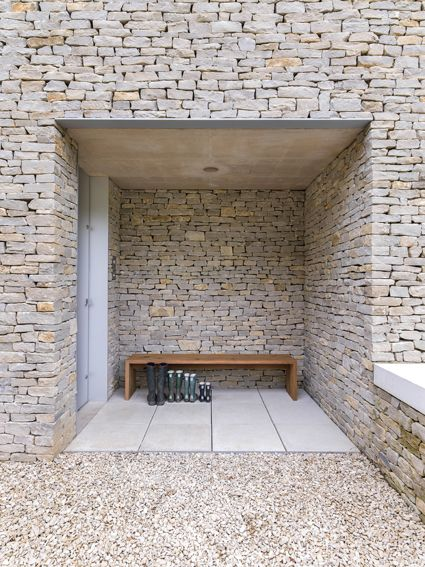 Stone entry, private house in Cotswolds, UK. By Found Associates