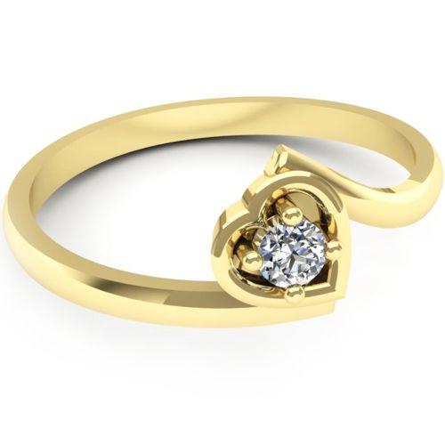 Inelul este realizat din aur galben 14k, greutate: ~1.70gr.                                     Produsul are in componenta sa: 1 x diamant, dimensiune: ~2.80mm, greutate: 0.08ct , culoare: G, claritate: VS2, forma: round