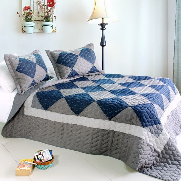 [Grey Zone]100% Cotton 3PC Vermicelli-Quilted Patchwork Quilt Set (Full/Queen Size)