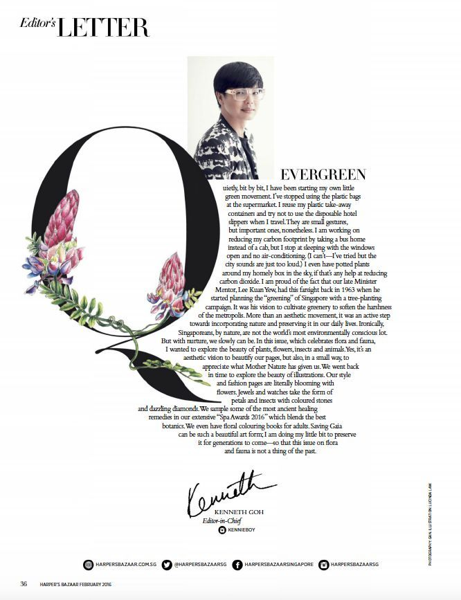 Stunning floral magazine layout for editor's letter.