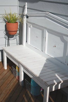 headboard bench - 3 legs, wire baskets, poly for outdoors
