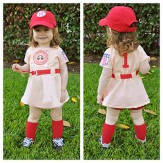 I'm dying from the cuteness!!!! A League of Their Own costume. There's No Crying in Baseball