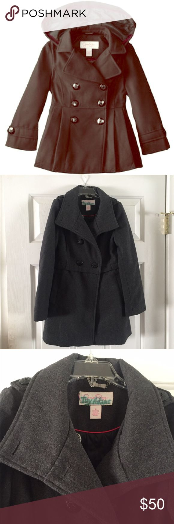 💕Girls Peacoat💕 Adorable girls Peacoat from Jessica Simpson. Double breasted, heather grey with button close. In GREAT condition. living in SoCal my kid doesn't wear a coat much and grows out of then quicker then I'd like. Does not come with a hood. Accepting offers (use button) No trades ❄️ Jessica Simpson Jackets & Coats Pea Coats