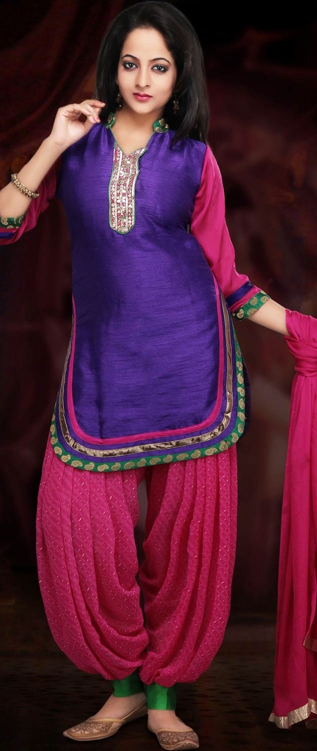 Purple and Pink Art Dupion Silk Patiala with Short Kurta @ $55.28 | Shop Now @ http://www.utsavfashion.com/store/sarees-large.aspx?icode=kjn353