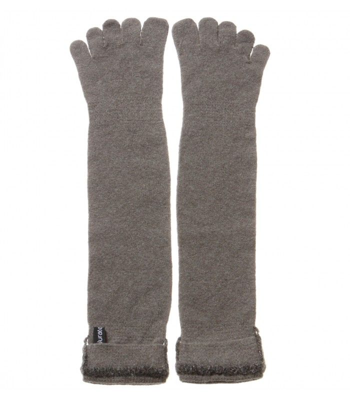 Unisex Cashmere Blend Long Five Finger Socks with Handmade decoration packaged in Signature box