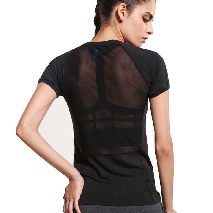7,61 EUR, inkl. Versand: Women Black Short Sleeve Elastic Yoga Mesh Sports T Shirt Fitness Women's  Gym Running Black Tops Tee Quick Dry Shirts G 086 on Aliexpress.com | Alibaba Group