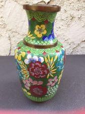 "Vintage Brass Cloisonne Asian Vase Multi Colored Flowers 6.5"" High Sml Dent Ding"