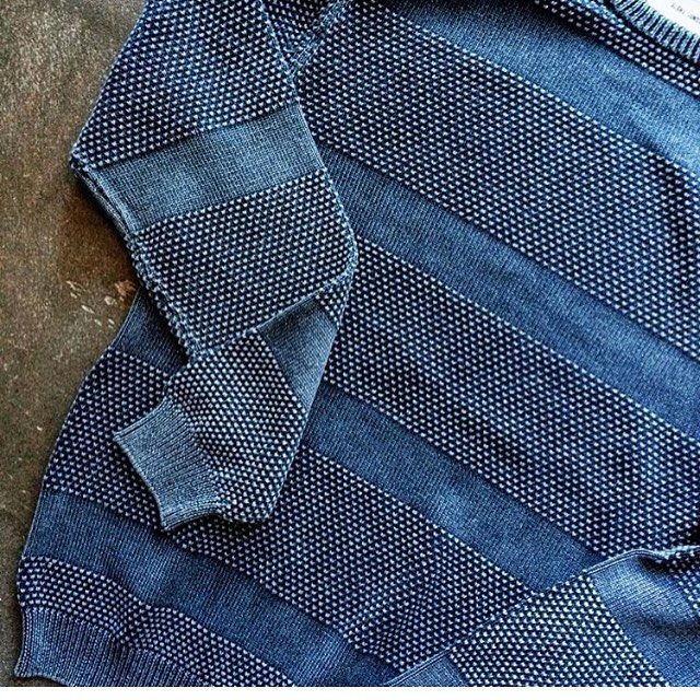 "Layer up with Our ""Ascent"" indigo dyed cotton sweater. Available at our retail…"