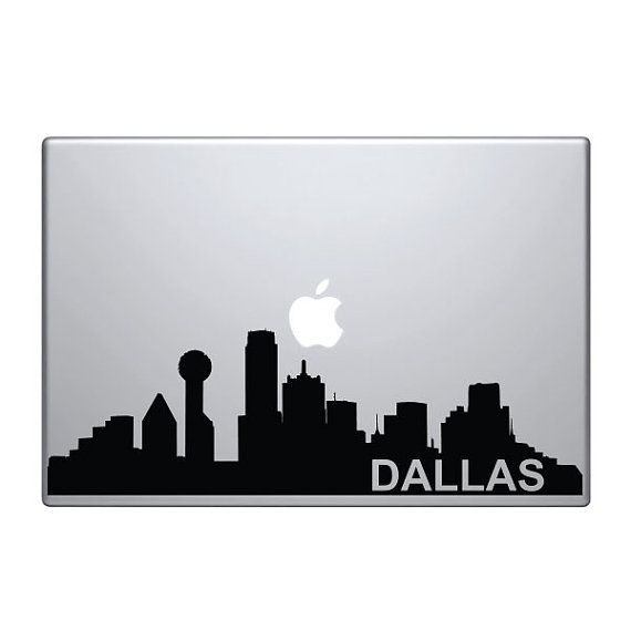Dallas Skyline Vinyl Decal Sticker To Fit Macbook Pro - Custom vinyl decals macbook