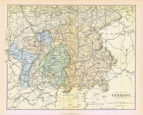 1880 Antieke Kaart Duitsland Zuid Beieren Hessen Elzas Antieke