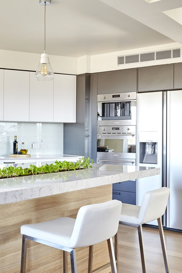 Minimalist white modern kitchen with a garden strip in the counter top. From TV show The Block.