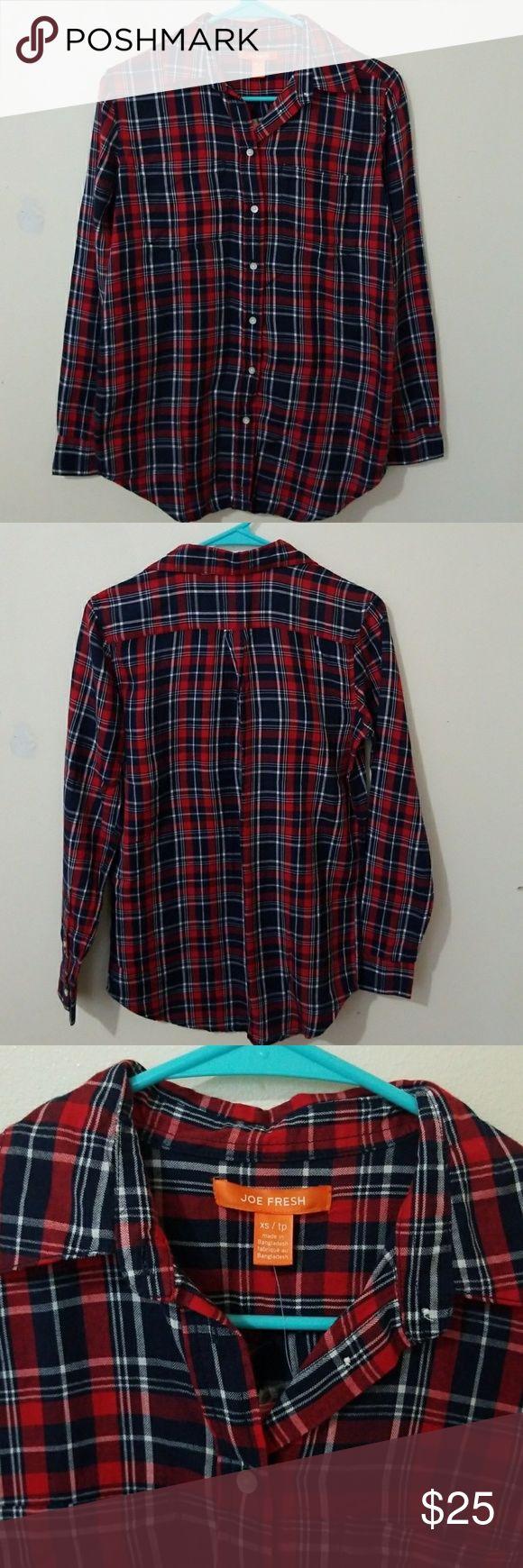 Joe Fresh shirt Joe Fresh womens plaid button down shirt. Never worn with tags Joe Fresh Tops Button Down Shirts