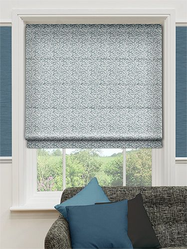 Leafy Cool Blue Roman Blind from Blinds 2go