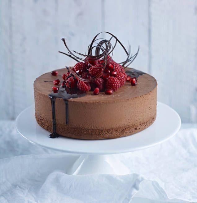 chokladmoussetårta med kladdkakebotten