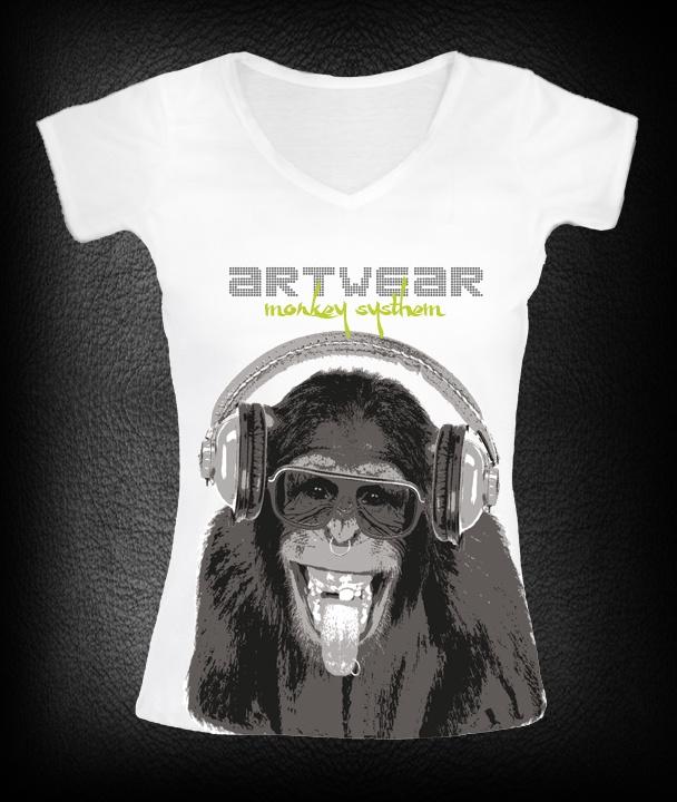 t-shirt femme Monkey Sound  P-plum