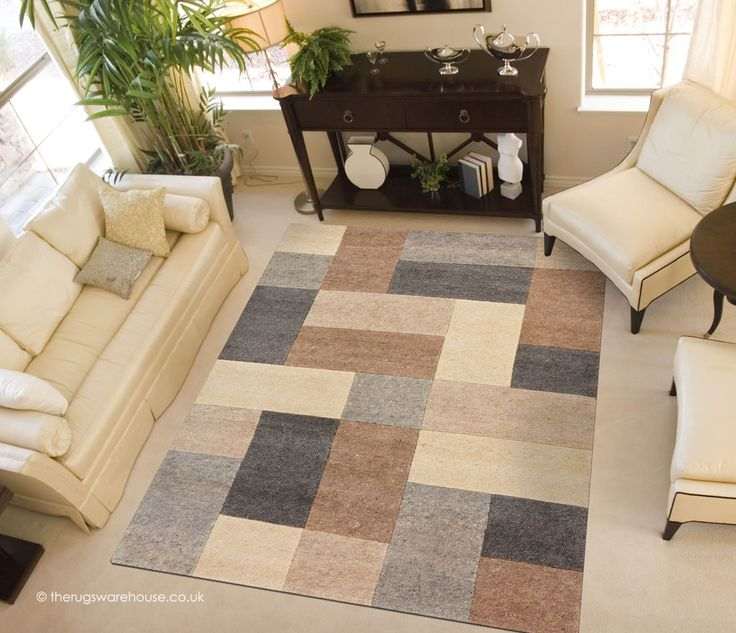 Lama Multi Rug A Hand Knotted Patchwork Style Pattern 100 Undyed Wool