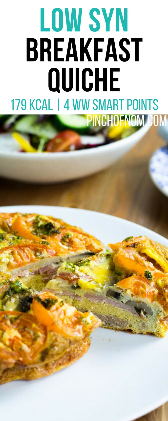 Low Syn Breakfast Quiche | Pinch Of Nom Slimming World Recipes     179 kcal | 0.5 Syn | 4 Weight Watchers Smart Points