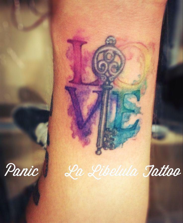 Love watercolor tattoo  Panic one   http://www.facebook.com/LaLibelulaTattoo