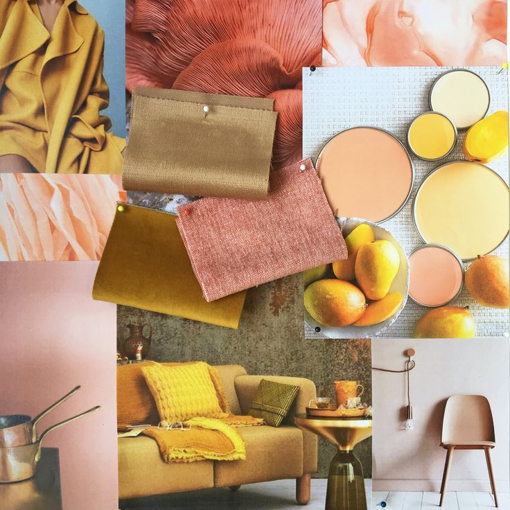 Amber, peach, coral moodboard created in the studio