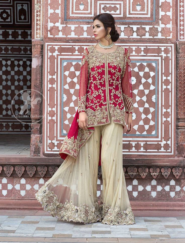 Deep Red Front Open Short Shirt – Beige Embroidered Sharara