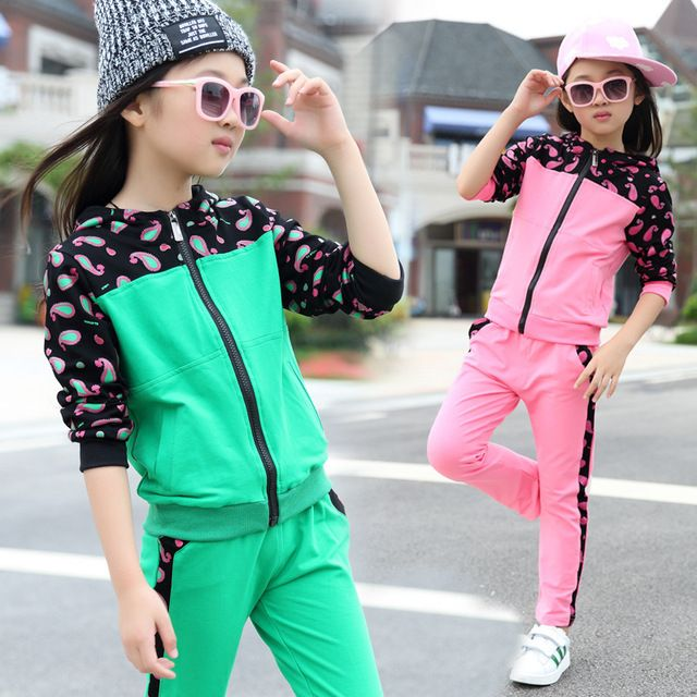 Conjuntos de roupas Para Meninas Ternos de Esportes de Algodão de Manga Longa Crianças Fatos de Treino Patchwork Menina Sportswear Primavera & Outono Uniforme Escolar