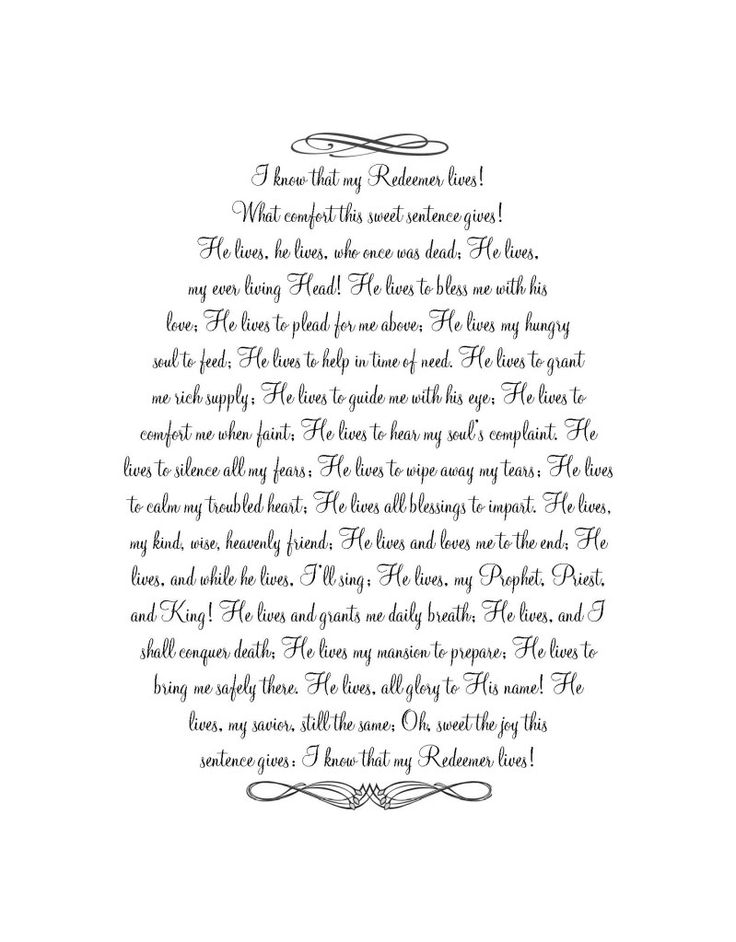'I know that my Redeemer Lives' - Easter Printable Great idea to