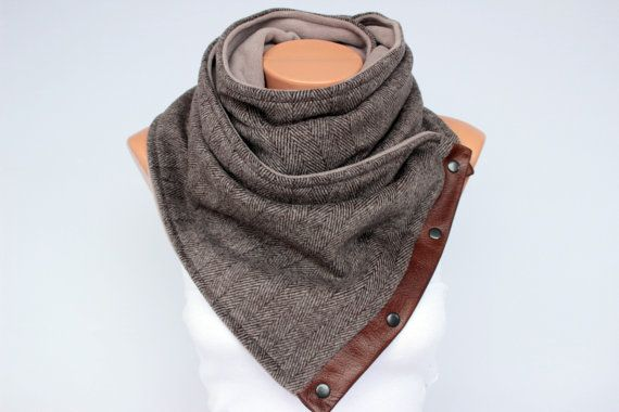 Men .unisex, winter scarf  NECKWARMER scarf  ,men scarf, scarf  with snaps on GENUINE LEATHER $49.00 Etsy