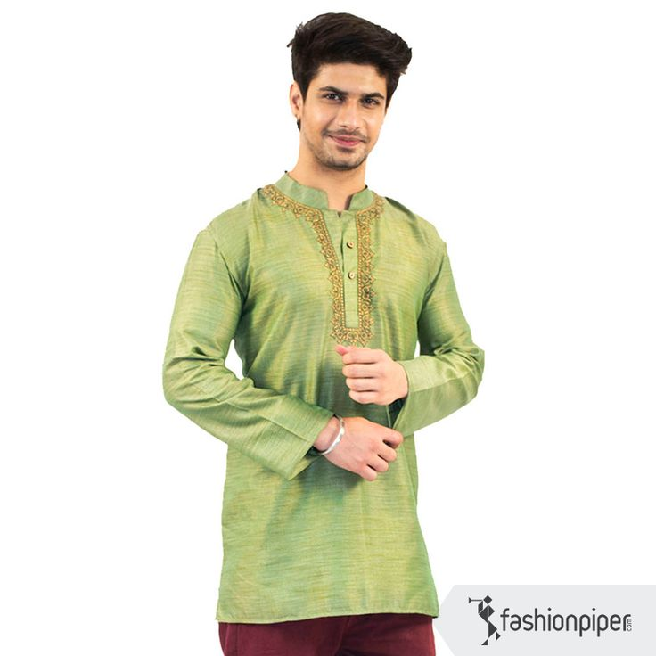 High neck #embroidered #kurta in a beautiful #pistachio hue  Order : http://www.fashionpiper.com/men/indian-wear/kurta-set/pistachio-passion-kurta-1765.html