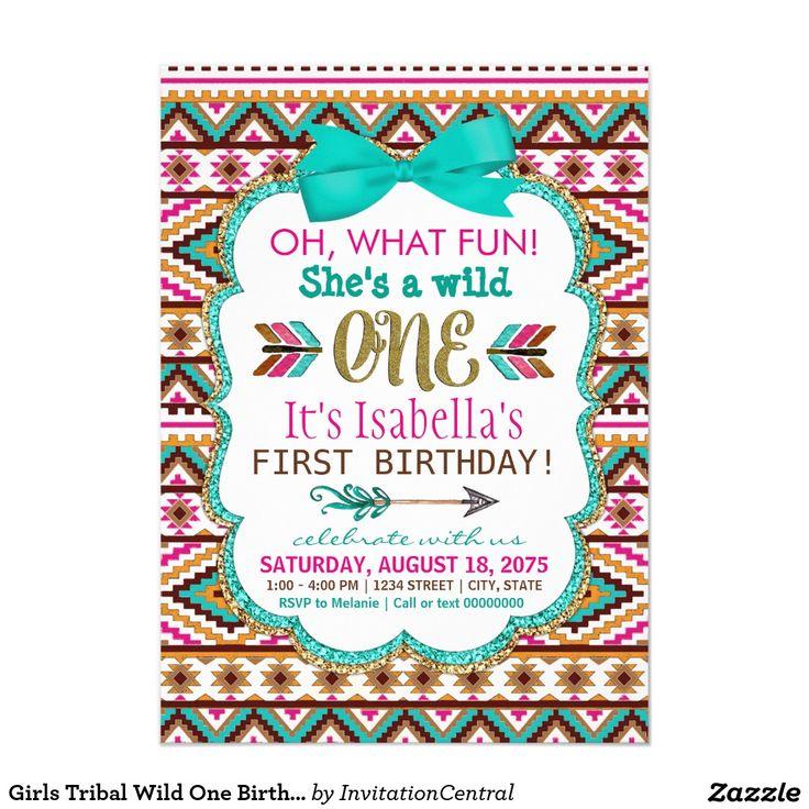 Girls Tribal Wild One Birthday Party Invitations