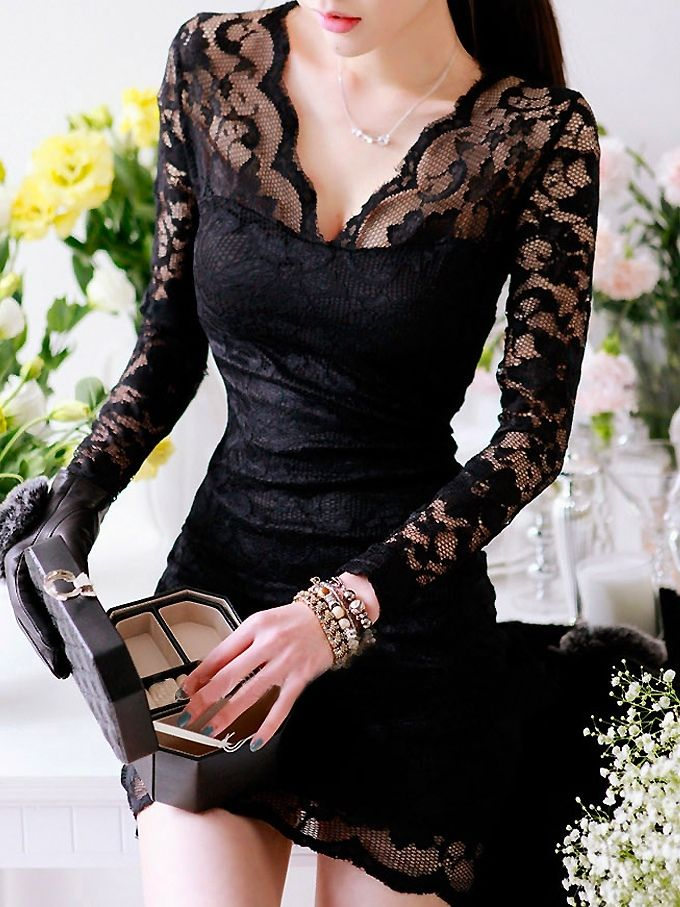 Seductive Long Sleeve Hollow Lace Curve Hugging Dress Black