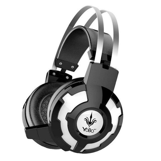 Gaming Headset Over-Ear Computer Headphone With Microphone Noise Canceling LED light