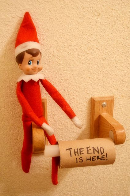 Our funny little elf on the shelf <3 DAY 30 (12/21/12): JTE News Update --- Jingle was hanging out in the bathroom this morning, with an important announcement! Thank you Jingle for letting us know the roll has come to an end! Fortunately, we have plenty of Charmin in the closet down the hall!  (Look for Jingle - The Elf On Our Shelf on Facebook!) Funny elf on the shelf; Elf on the shelf ideas; Easy elf on the shelf idea