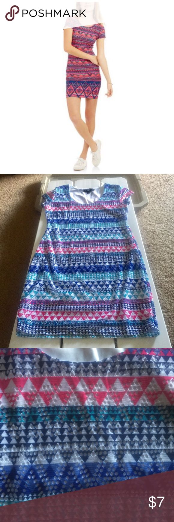 Summer Dress Summer dress size Junior Large in mint used condition .   2-4 th pictures show actual color of the dress vibrant blues , pinks and teals . Derek Heart Dresses