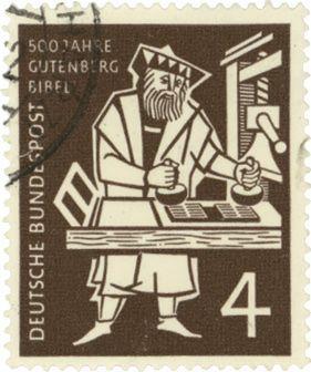 postage stamp honouring Gutenberg printing press and book printing, Gutenberg bible, Germany