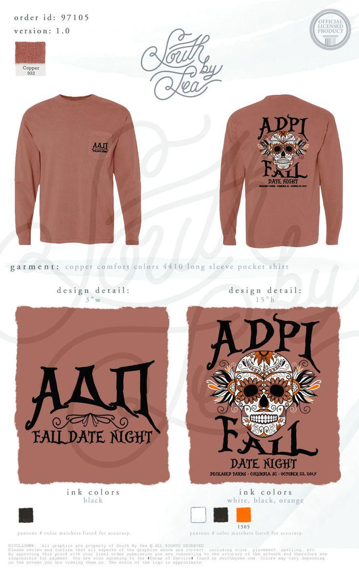 Alpha Delta Pi | ADPi | Fall Date  Night | Skull Tee Shirt Design | Sugar Skull Shirt Design | Halloween Tee Shirt Design | South by Sea | Sorority Shirts | Sorority Tanks | Greek Shirts
