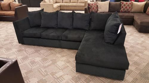 2pc sectional in black corduroy sofa