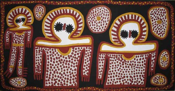 Wandjina rain god ochre on canvas - Lily Karadada