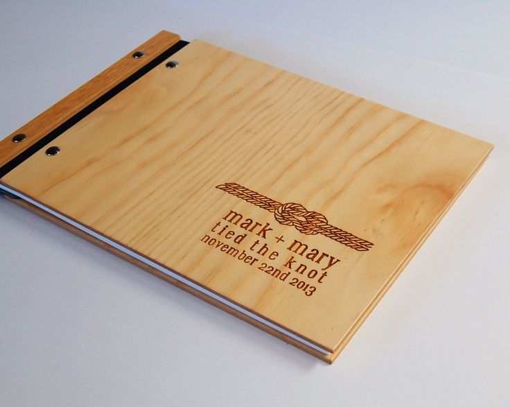 nautical wood guest book custom wedding personalized bridal engagement rustic modern // tie the knot 30 pages. $80.00, via Etsy.