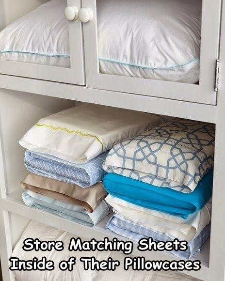 Store sheet sets inside pillowcase