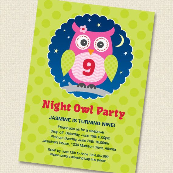 Night Owl Sleepover Party Invitation Printable by paperspice, $16.00